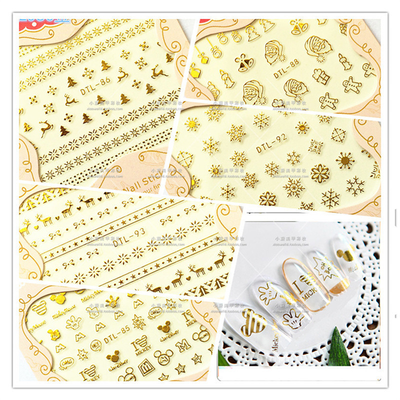 Cartoon Bear Bronze Manicure 3D Sticker Phototherapy Nail Polish Flower Stickers Christmas Old Man Elk Bell Snowflake