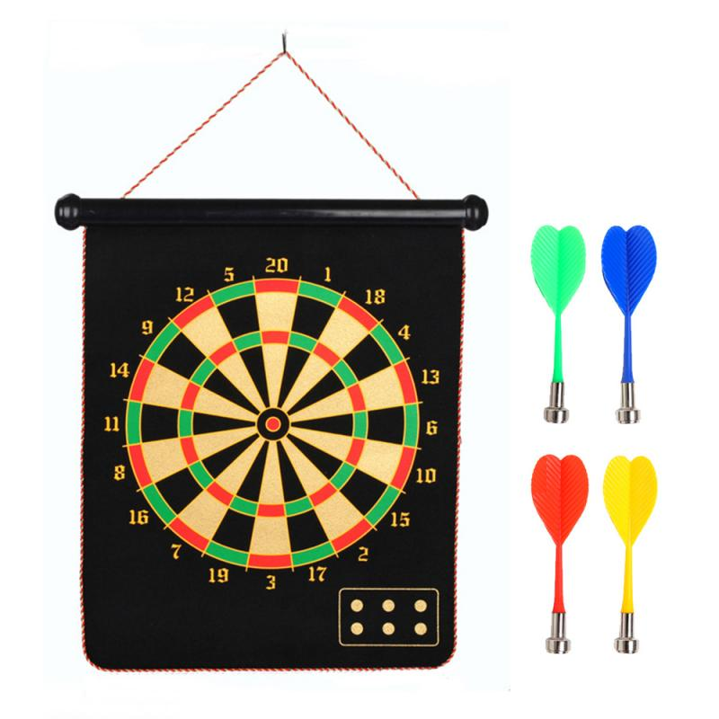 New 8/9/12/15/17 Inches Magnetic Dart Board Darts Suit Double Sided Flocking Dartboards Darts Plate Of Safety Dart Safety Game