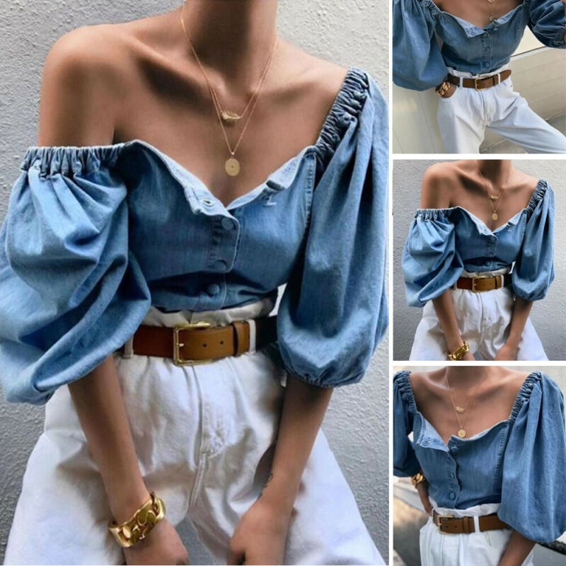 Streetwear Women Sexy Off Shoulder Puff Sleeve Blouse Top Elastic Shoulder 3/4 Sleeve Tops Ladies Blue Denim Blouse Loose Shirt