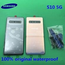 Ban Đầu Mới Lưng Pin Samsung Galaxy S10 G977 G977F 5G Phiên Bản Phía Sau Cửa Nhà Ở Kính Cường Lực Thay Thế Một Phần + Dụng Cụ