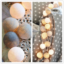 20leds Cotton Ball Garland String Lights Christmas Fairy Lighting Strings for Outdoor Holiday Wedding Xmas Party Home Decoration