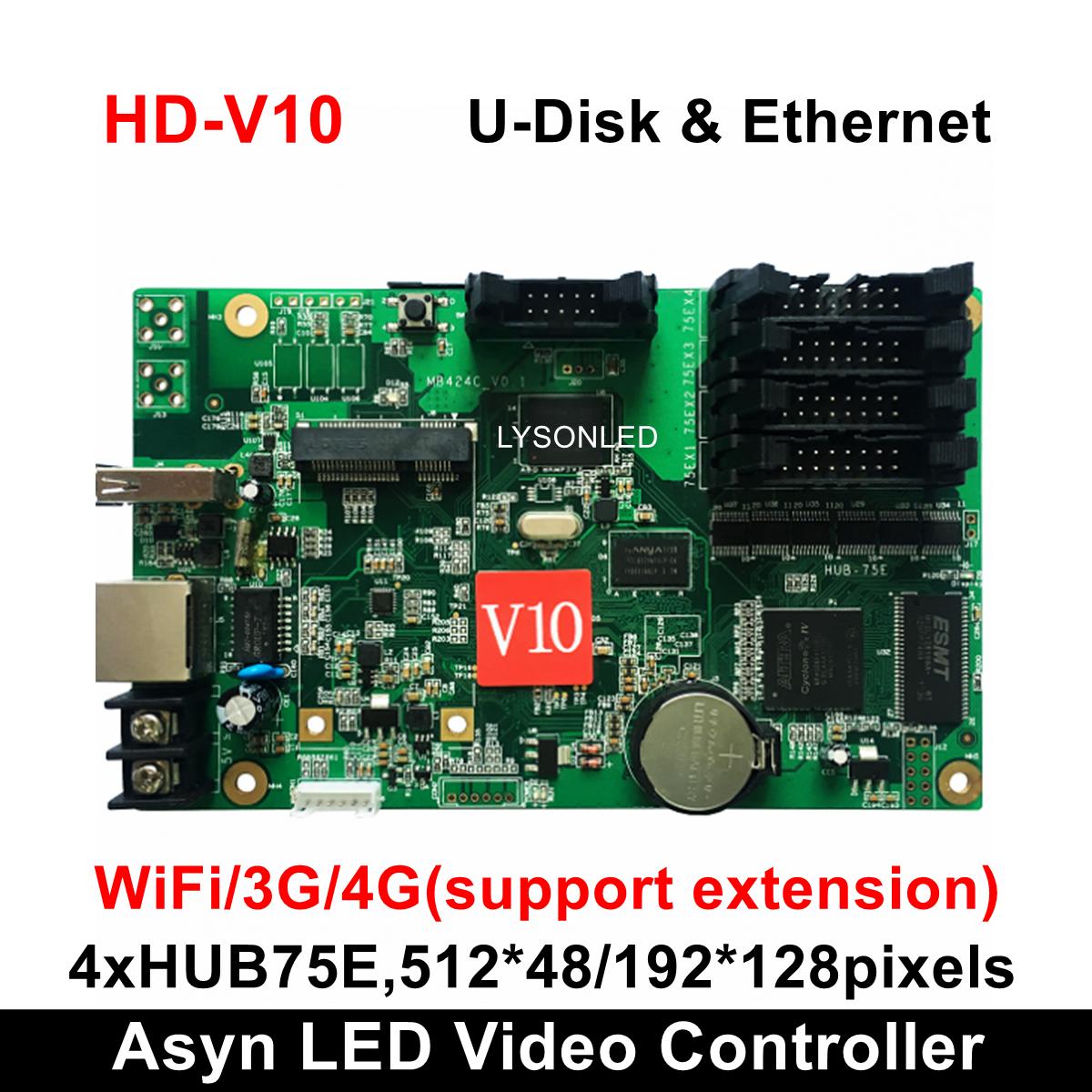 Huidu HD-V10 Full Color Led Card 192*128pixels Door Lintel Full Color Taxi Roof Bus AD Screen Controller Wireless