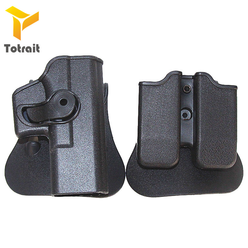 Hunting glock IMI Holster Glock 17 19 Right Hand Belt Loop Paddle Platform Tactical Pistol Gun Holsters with Magazine Clip Pouch image