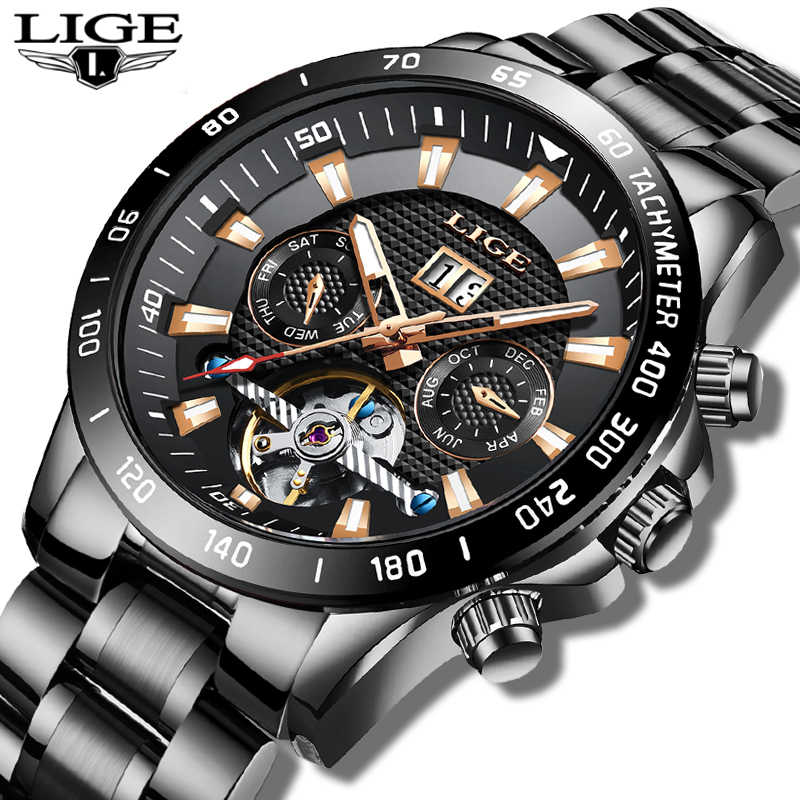 2020 Luik Mens Watch Top Brand Luxe Fashion Business Horloge Mannen Mechanisch Horloge Kalender Waterdicht Klok Reloj Hombre + doos
