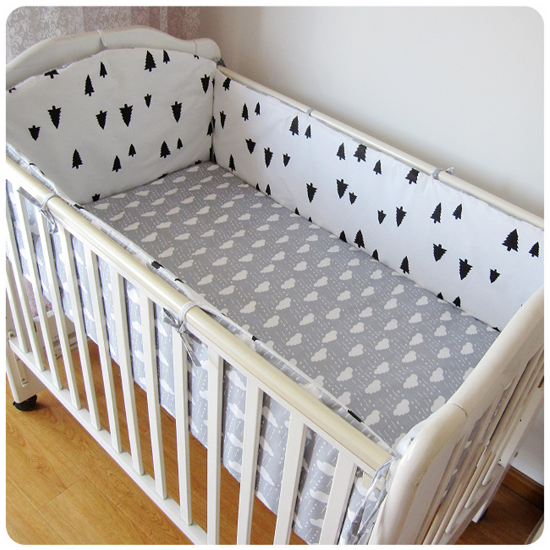 6PCS Baby Bedding Set Baby Cotton Sabanas Cuna Juego Baby Bed Bumper Baby Cot Set Infant Cradle Kid(4bumpers+sheet+pillow Cover)