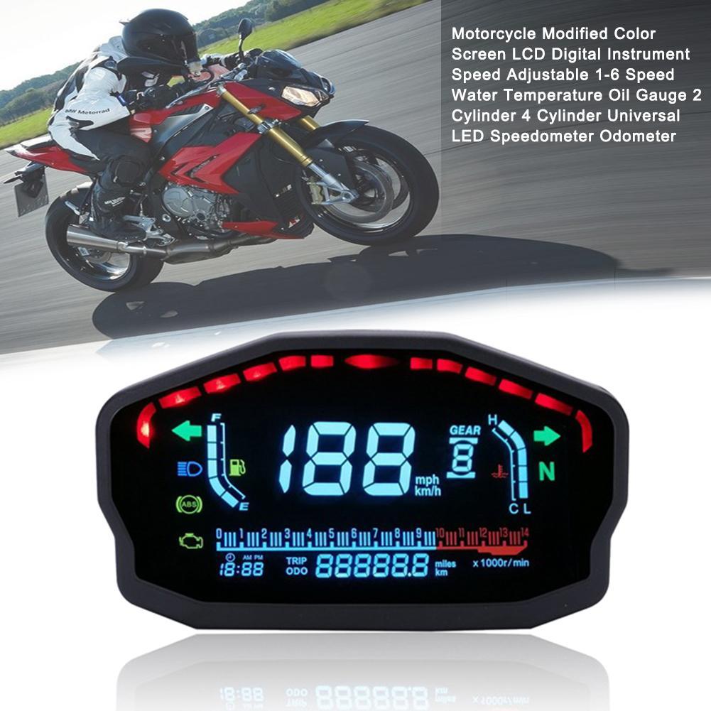 Moto modifié couleur écran LCD Instrument numérique antichoc Anti-éblouissement universel LED compteur de vitesse odomètre