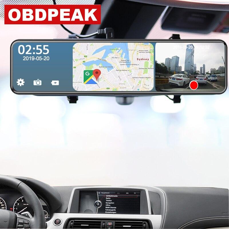 Android 4G 12 Cal naklejka na samochodowe lusterko wsteczne strumień mediów kamera na deskę rozdzielczą podwójna kamera 1080P wideorejestrator samochodowy ADAS Super noc nawigacja GPS rejestrator