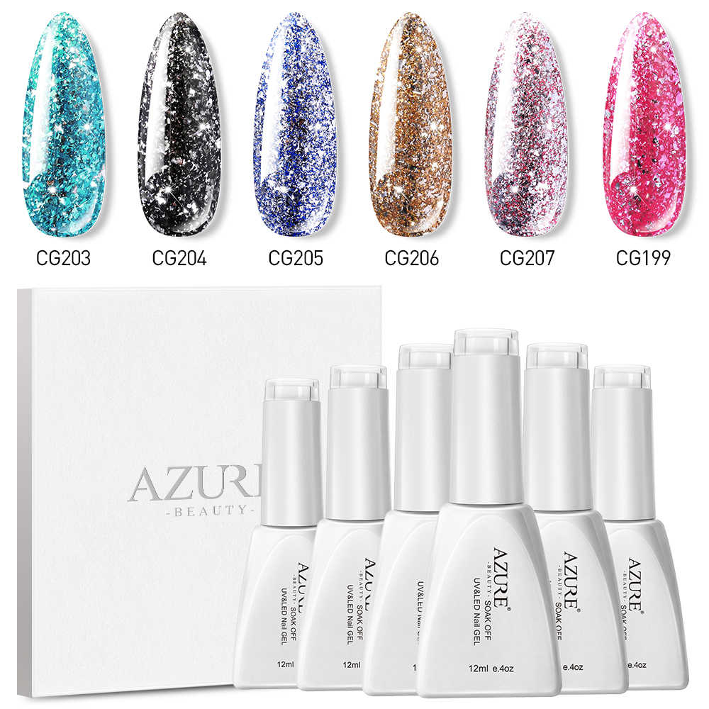 Azure Beauty Glitter Uv Gel Nail Polish Set Tahan Lama Platinum Mengkilap LED Nail Enamel Rendam Off Semi Permanen Pernis 6 Pcs/lot