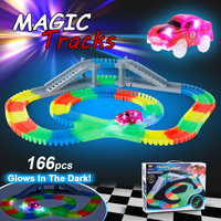 166PCS Twister Tracks Flexible Assembly Neon Glow in the Dark with Bridge Crossroad Track Race Car for Kids