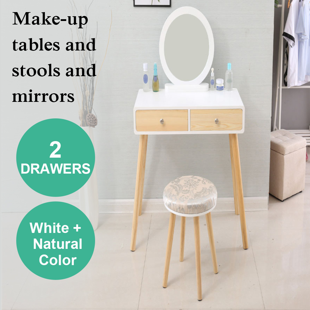 Modern Woman MDF Board White Solid Wood Makeup Dressing Table Sets Stool 3 Pieces Mirror Cabinet With Chair Jewelry  Drawers