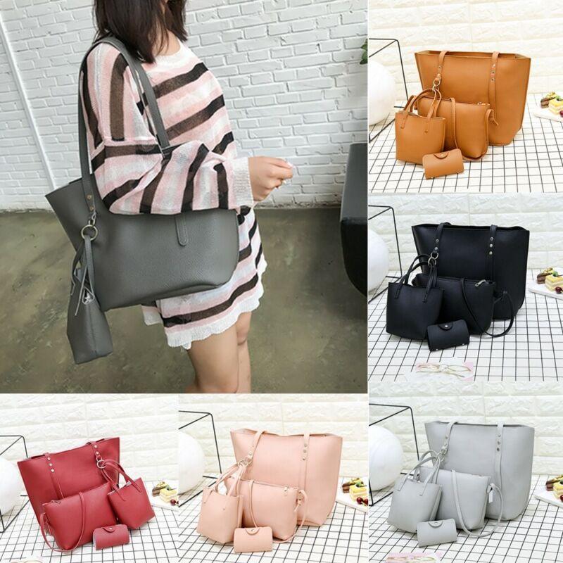 4pcs Women Fashion Leather Handbag Shoulder Bag Tote Purse Messenger Satchel Set
