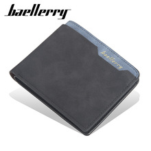 Wysokiej jakości portfel męski Vintage stylowe portfele męskie skórzana portmonetka męskie etui na karty kredytowe miękkie skórzane łączone portfele męskie tanie tanio baellerry Krótki 0 1kg Poliester 10cm PU Leather Patchwork DR034 Wnętrza przedziału Uwaga przedziału Zdjęcie holder