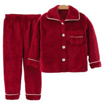 New Winter Children Fleece Pajamas Thicken Warm Flannel Sleepwear Girls Loungewear Coral Fleece Kids Pyjamas Boy Homewear Suit 1
