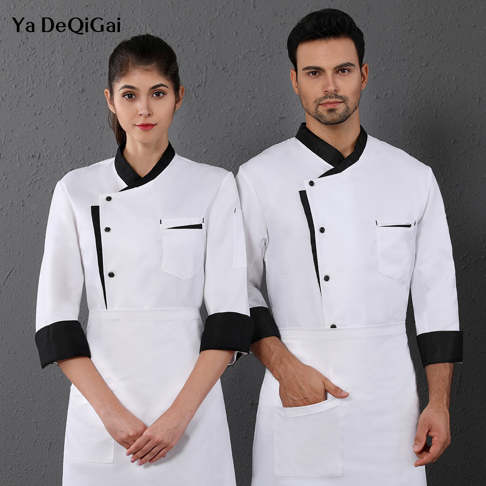 Unisex Long Sleeved Chef Jackets Hotel Restaurant Kitchen Chef Uniforms Bakery Workwear Cooking Work Coats M-4XL New Wholesale