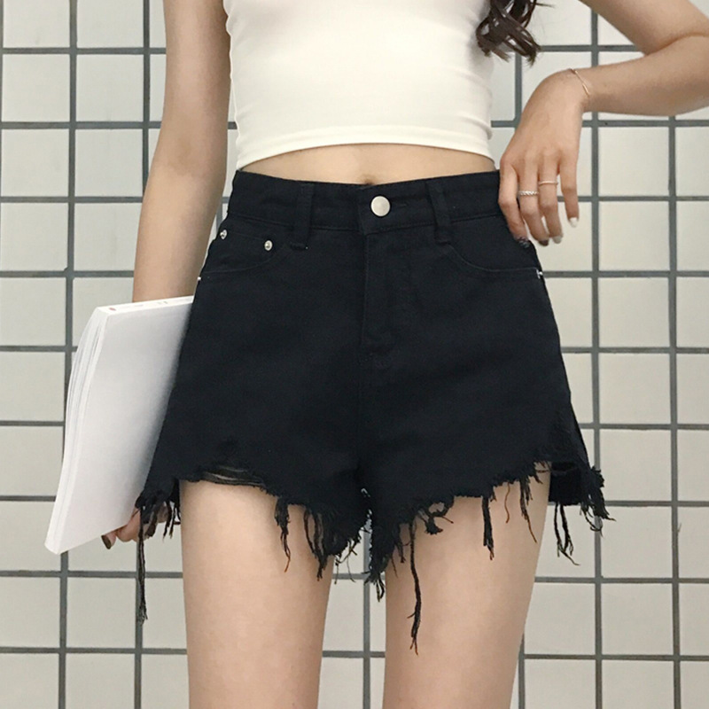 High-waisted Denim Shorts WOMEN'S Dress Summer Korean-style Large Size Fat Mm Loose-Fit Slimming Students Fur Trim Wide-Leg A- L