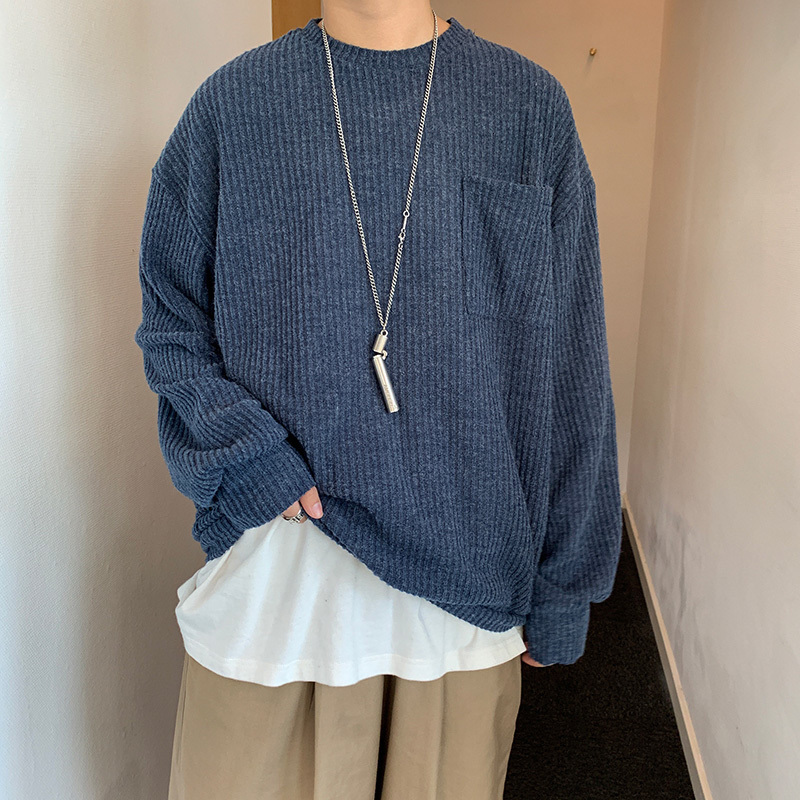 2019 Autumn Men's Clothing Solid Color Knitting Lovers Clothes Woolen Sweaters Round Neck Casual Cashmere Pullover Loose Coat
