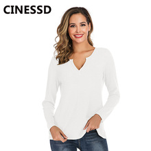 CINESSD Women Waffle Plaid Tops Sweater Tee Shirts Black V Neck Long Sleeves Solid Pullover Casual Thin Autumn Winter Sweaters