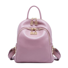 Luxury Genuine Leather Backpack For Women,Casual School Backpack For Teenage girl Black/Pink Fashion Shoulder Bag Female 2019 daily backpack women shoulder bag genuine leather ladies travel bag luxury brand design fashion casual black backpack schoolbag