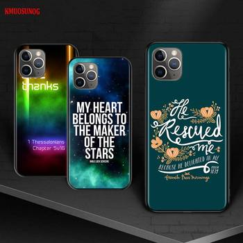 Biblical scriptures for iPhone 12 Mini 11 11Pro X XR XS Max 8 7 6 6S Plus 5S SE 2020 Phone Case Bright Black Cover image