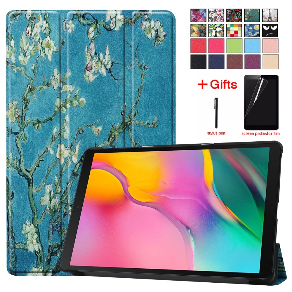 For Samung Galaxy Tab A 10.1 2019 <font><b>Case</b></font> Trifold Stand PU Leather Tablet <font><b>T510</b></font> T515 SM-<font><b>T510</b></font> SM-T515 Protective <font><b>Case</b></font> free pen+ Film image
