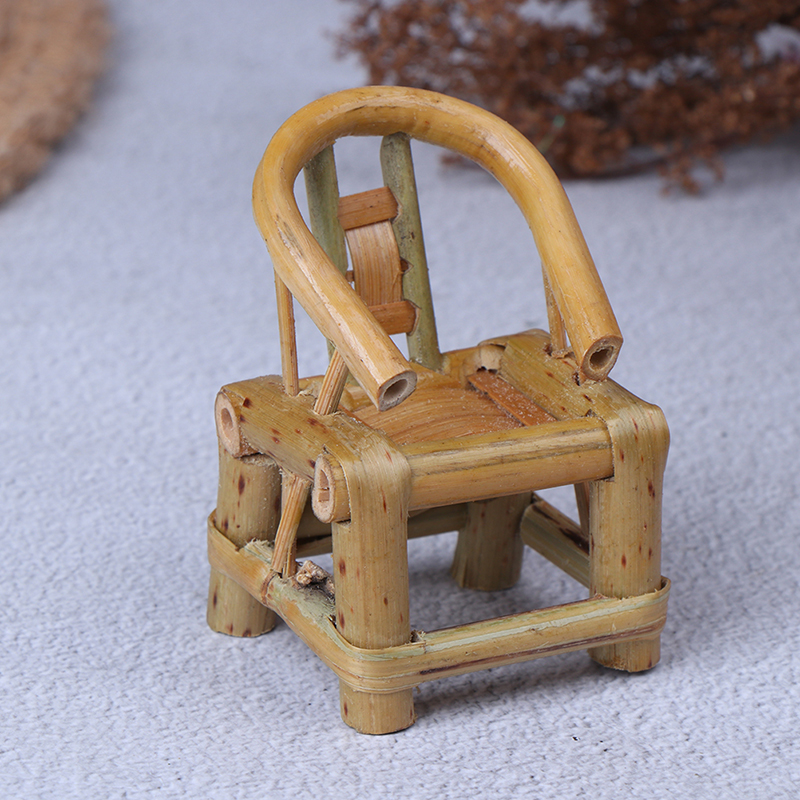 Dollhouse Miniature Furniture Bamboo Dining Chair Dolls Mini 1:12 Scale Handmade Furniture Toys