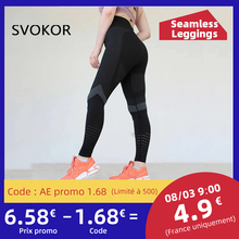 SVOKOR High Waist Fitness Leggings Women Sexy Seamless Leggings Hollow Printed Workout Pants Push Up Slim Elasticity