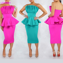 2019 autumn new European and American sexy womens ruffled wrapped chest slim slimming sleeveless fashion dress
