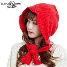 BINGYUANHAOXUAN Siamese Knitted Hat Scarf Caps Warmer Winter Hats For Women Skullies Beanies Warm Fleece Cap