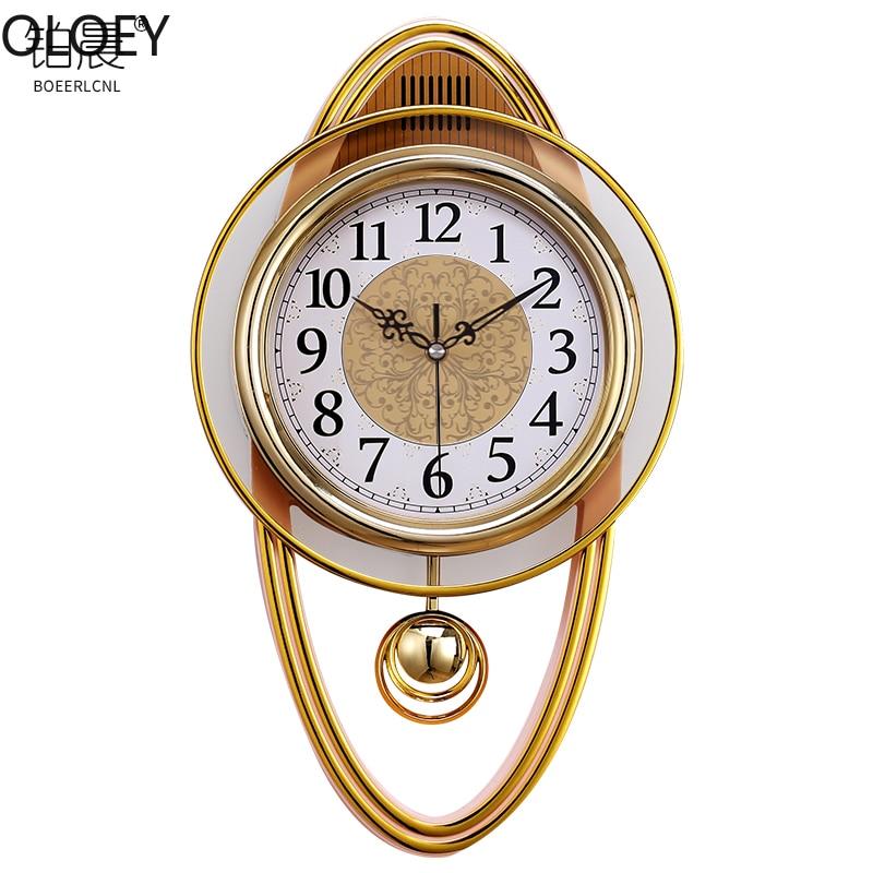 Gold Vintage Wall Clock Luxury Swing Clock Wall Watch Mechanism Living Room Modern Digital Wall Clock Clocks Swingable Europe