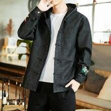 MrGoldenBowl Men's Oversized Jackets Japanese Streetwear Men Casual Loose Denim Embroidery Coats 2020 Autumn New Men's Jackets