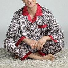 Silk pajamas men Cozy and soft Long-sleeved tops + Trousers Two Pieces Sleepwear Set Plus Size Pyjamas Home Clothes pajamas