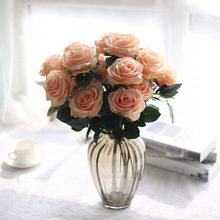 Holding flowers 10Heads rose bouquet plant simulation foreign trade white pink Wedding Home decoration  false