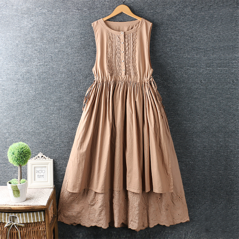 2020 New Summer Sweet Fresh Embroidery Drawstring Waist Loose Midi Dress Cotton Loose Dress
