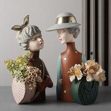 Креатив смола милый бант девочка ваза искусство цветок композиция мальчик девочка скульптура цветок горшок горшок растение дом сад украшение подарки