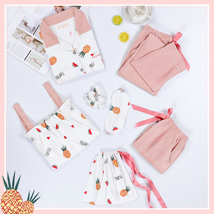 JRMISSLI женская пижама, комплект из 7 предметов, Хлопковая пижама с надписью, сексуальные пижамы, Ночная одежда, домашняя одежда