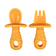 Fork-Spoon-Set Led Weaning Training-Chewing Baby Kitchen Soft Portable Skills Ergonomic