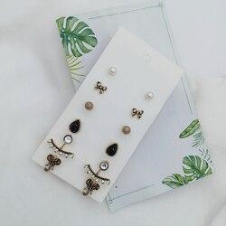 6 Pairs/Set Women Bohemian Earring Stud Earrings For Women Boucle D'oreille Jewelry Dazzling Cubic Zirconia Opal