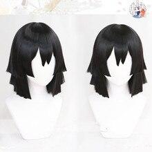 Anime Demon Slayer: Kimetsu no Yaiba Iguro Obanai Cosplay Wigs Black Heat Resistant Synthetic Hair Wig  + Wig Cap
