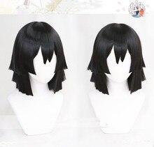 애니메이션 악마 슬레이어: Kimetsu no Yaiba 이구로 오바나이 코스프레 가발 블랙 내열성 합성 머리 가발 + 가발 모자
