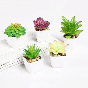Image 3 - Erxiaobao 냄비 시뮬레이션 succulents와 사랑스러운 인공 식물 미니 분재 화분 배치 녹색 가짜 식물 테이블 장식