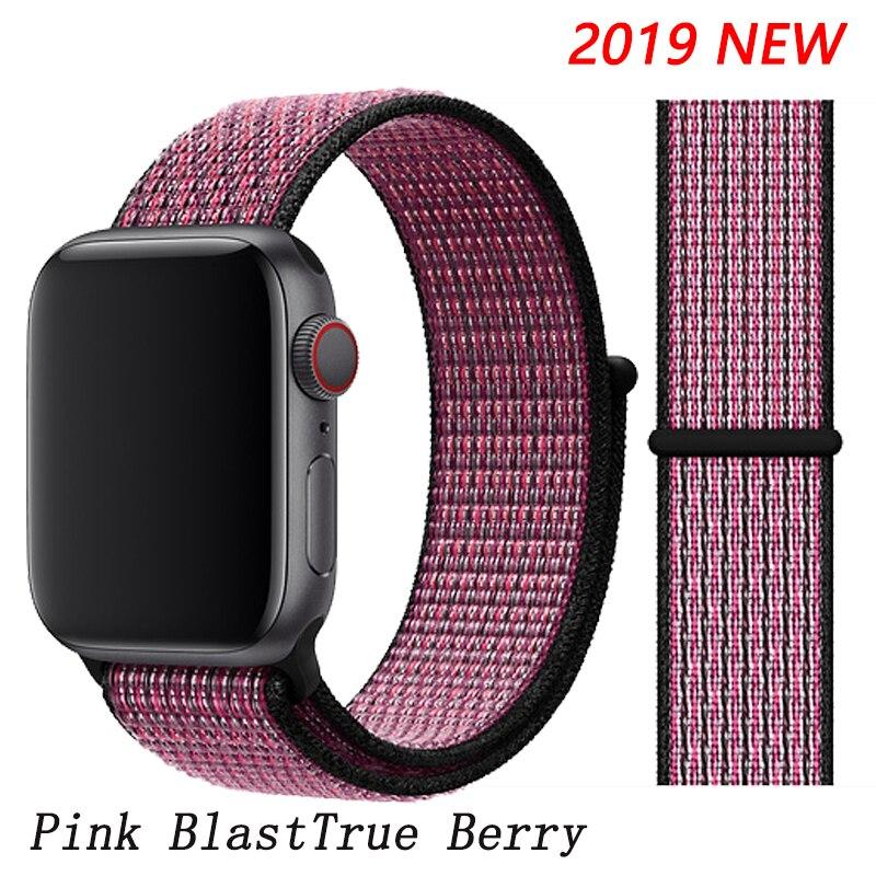 Спортивная петля ремешок apple watch band 42 мм 38 мм apple watch 4 3 band iwatch band 44 мм 40 мм correa pulseira 42 44 нейлоновый ремешок для часов - Цвет ремешка: Pink Blast
