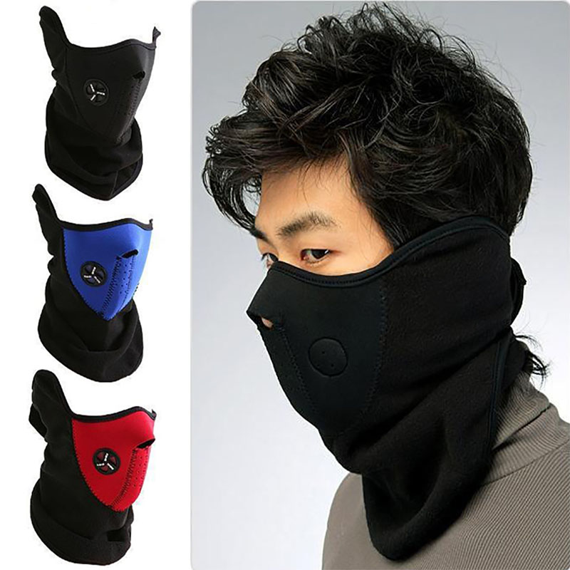 Warm Fleece Bike Half Face Mask Cover Airsoft Face Hood Protection Cycling Ski Sports Outdoor Winter Neck Guard Scarf Warm Mask