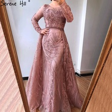 Dresses-Gowns Formal-Dress Train Serene Hill Mermaid Muslim Party Evening Pink Long Woman