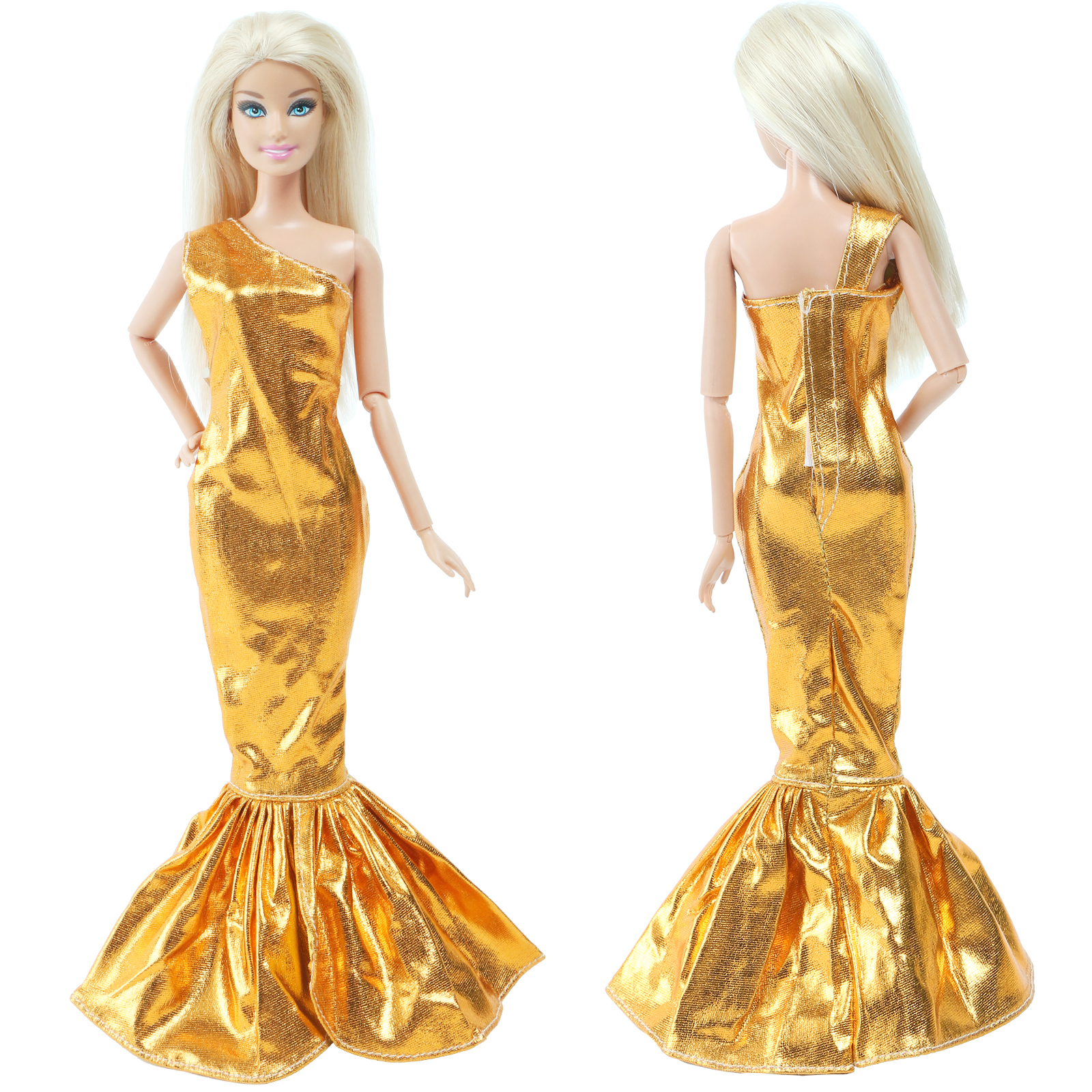 Fashion Style Gold One-shoulder Fishtail Dress Evening Party Skirt Long Gown Accessories Clothes For Barbie Doll Baby Toy
