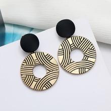 LATS French Retro Matte Gold Drop Earrings for Women Geometric Round Metal Dangle Earrings Fashion Jewelry Wholesale Earings
