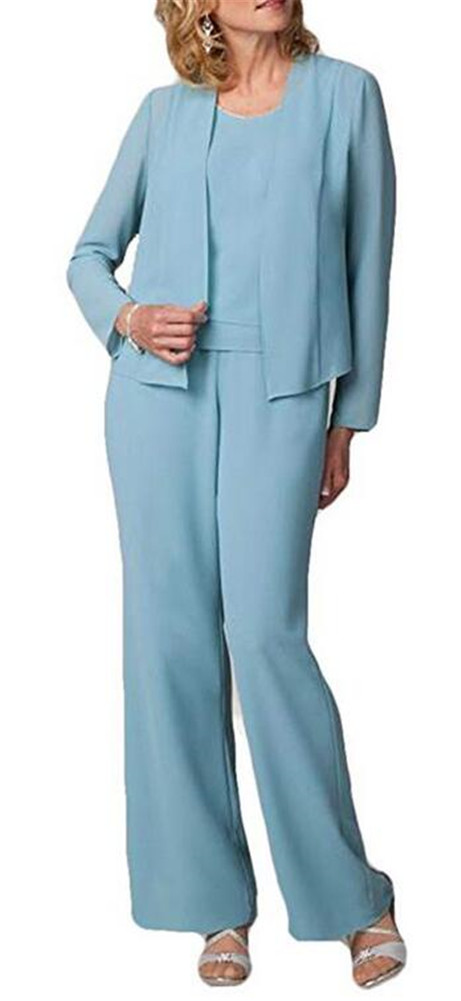 2019 Short Jacket Mother Of The Bride Plus Size PantSuits 3 Pieces(Jacket +Vest +Pants) Long Sleeve Mothers Suit