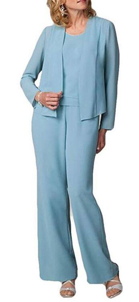 2019 Short Jacket Mother Of The Bride Plus Size PantSuits 3 Pieces(Jacket +Vest +Pants) Long Sleeve Mothers Suit
