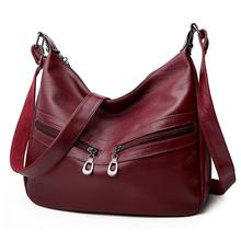 Women Hobos Handbag Zipper PU Leather Office Ladies Totes Pure Shoulder Bag Elegant Female Portable