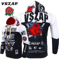 2019 VSZAP Men Sweatshirt Long Sleeve Xxxtentacion Hoodies MMA Fitness Running Sweatshirts Rose Printing Stretch Black Hoodie
