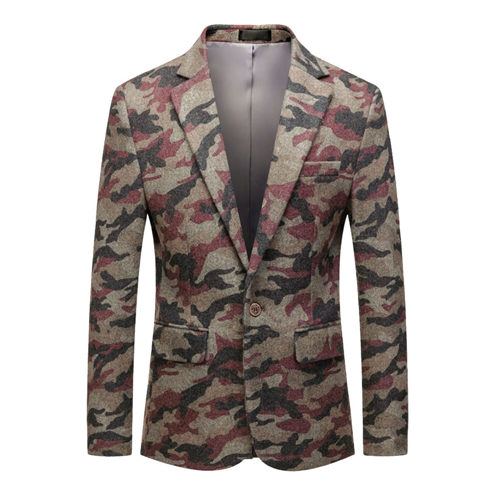 Men's Casual Vintage Turn-down Collar Long Sleeve Print Floral Suit Coat Jacket Americanas Para Hombre 2019 W902